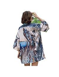 MV Kimono Pijama Mujer Japonés Delgado Retro Sun Protección Ropa Chamarra