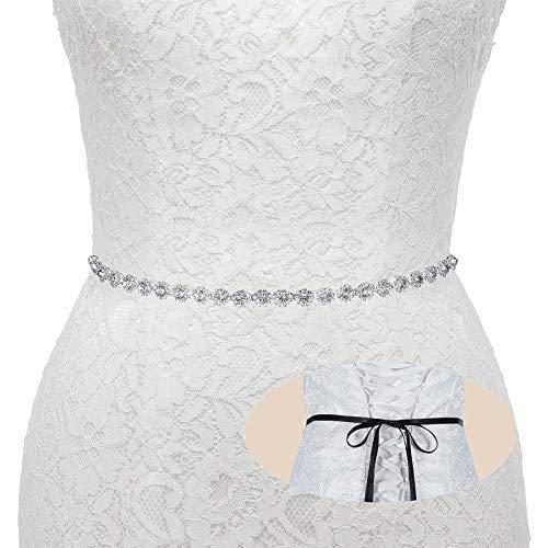 Bridal Wedding Thin Rhinestone Belts - Dress Accessories Sash Crystal Belt,(Silver&Black
