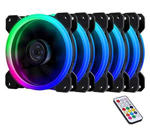 EZDIY-FAB 5-Pack Wireless RGB LED 120mm Case Fan,Quiet Edition High Airflow Adjustable Color LED Case Fan for PC Cases, CPU Coolers,Radiators - Air Case Fan Flow
