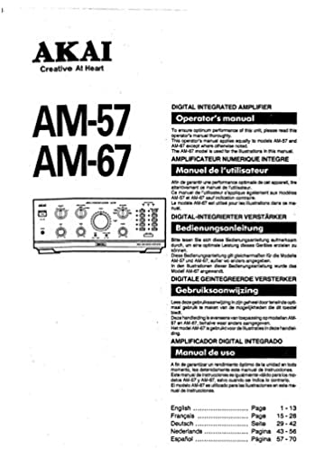 akai am 67 amplifier owners instruction manual amazon com books rh amazon com winchester model 67 owner's manual pentax 67 owners manual