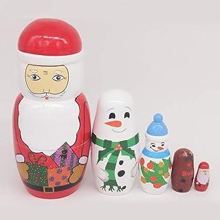 P Prettyia 5 Pezzi Babbo Natale Babushka Russo Matrioska Giocattolo Ornamenti Abbellimenti Decor - B