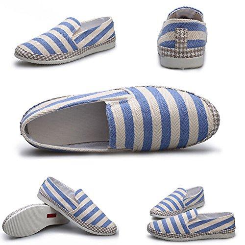 Angelliu Heren Casual Strepen Canvas Schoenen Zomer Lente Doug Flats Sneakers Blauw