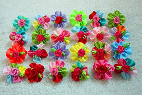 Yagopet 50pcs/pack Dog Hair Bows Cute Bright Flowers Designs Mix Colors Rubber Bands Dog Topknot Bows for Holidays Pet Dog Grooming Bows Supplies Dog Hair Accessories Free Shipping