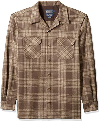 Pendleton Men's Tall Size Long Sleeve Board Shirt, Brown/Taupe Mix Plaid, XL