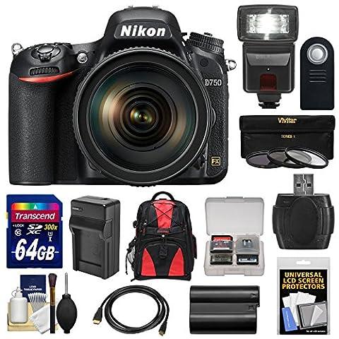 Nikon D750 Digital SLR Camera & 24-120mm f/4 VR Lens with 64GB Card + Battery & Charger + Backpack + 3 Filters + Flash + (Nikon 85 Mm D)