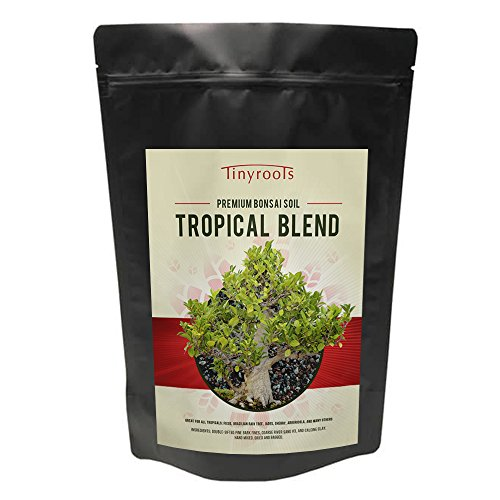 Tropical Bonsai Tree Soil Blend Two Quarts From Tinyroots. 100% Organic. For Ficus, Fukien Tea, Buttonwood, Dwarf Jade & other Tropical varieties. FRIT, Mineral Additives, Perfect For Healthy Bonsai Growth ()