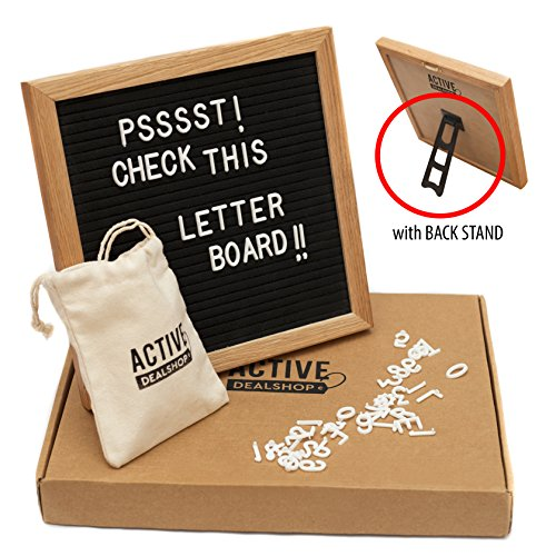 "Black Felt Changeable Letter Board (10"" x 10"") Bullet Lettering and Message Sign 