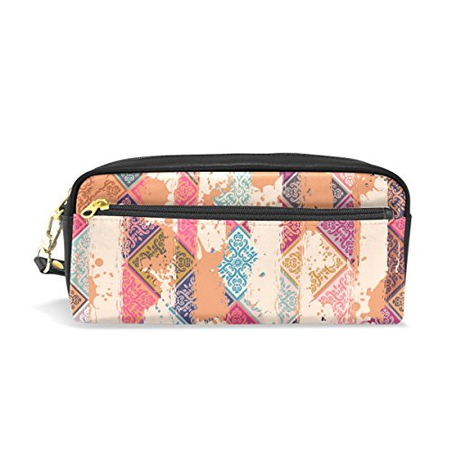 Naanle Vintage Patchwork Tiles Art Printed Women Makeup Cosmetic Lipstick Bag Coin Pocket Multifuncition Storage Organizer Pencil Case Travel Pouches with Zipper,PU Leather,Multi#10