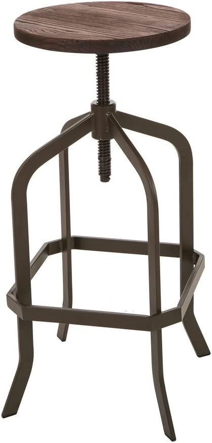 Glitzhome Vintage Bar Stool Adjustable Industrial Rustic Wooden Seat Metal Dining Chair