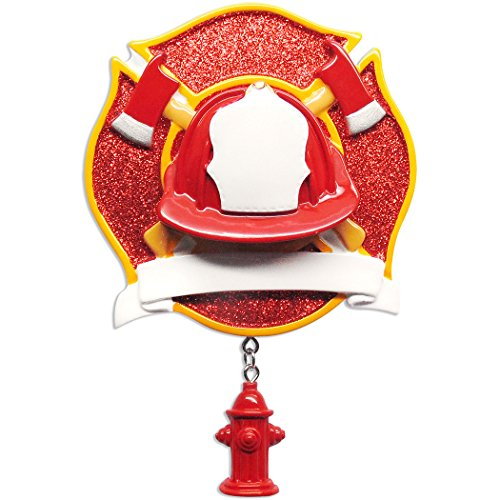 Personalized Fireman Christmas Tree Ornament 2019 - Firefighter Cap Emblem with Axe Fire Hydrant Glitter Emergency Rescue Coworker New Job Agent Academy Profession Gift Year - Free Customization