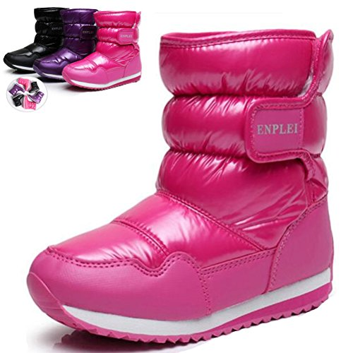Outdoor Kids Boots (DADAWEN Boy's Girl's Outdoor Waterproof Cold Weather Fur Lined Winter Snow Boots (Toddler/Little Kid/Big Kid) Pink US Size 11 M Little Kid)