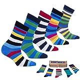 Socks n Socks-Boy's 5-pair Fun Cool Cotton Colorful Dress Crew Socks Gift Box