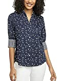 Foxcroft NYC Women's Pinpoint Non-Iron Stretch Poplin Shirt (Birds Navy White, Large)