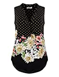 Rhoizma Chiffon Blouse Tops, Ladies Sleeveless Flowy Tunic Shirt Summer Henly V Neck Floral Boho Style Loose Casual Tanks,Black L