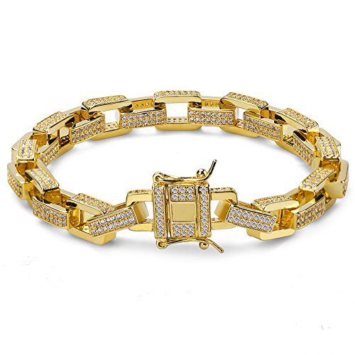 SHINY.U Hip Hop 14K Gold Plated Iced Out CZ Square Anchor Link Bracelet for Men (8