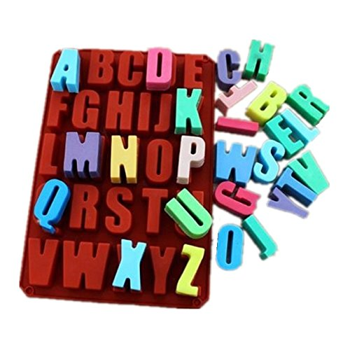 Allforhome(TM) 26 Cavities Alphabet Silicone Chocolate Making Mold Cake Pans Handmade Soap Molds Biscuit Resin Clay Craft Art DIY Cake Decorating Mold…