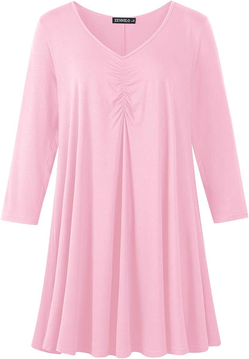 ZENNILO Women Plus Size Swing Tunic Tops Casual Basic Long Sleeve Ruched Shirt