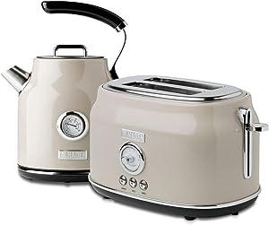 Haden Dorset Wide Slot Stainless Steel 2 Slice Retro Toaster & Dorset 1.7 Liter Stainless Steel Electric Water Kettle