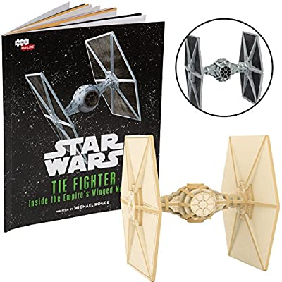 """Star Wars Tie Fighter Book and 3D Wood Model Kit - Build, Paint and Collect Your Own Wooden Model - Great for Kids and Adults, 12+ - 4.5"""""""