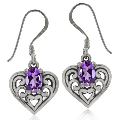 (Natural African Amethyst 925 Sterling Silver Southwest Style Filigree Heart Dangle Earrings)
