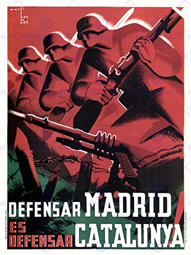 WAR PROPAGANDA SPANISH CIVIL MADRID CATALONIA SPAIN ANTI FASCIST POSTER 2794PY (Posters War Propaganda Anti)