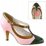 "Search : Pin Up Couture PEACH-03 Women 3"" Heel Tri-Color T-Strap Pump"