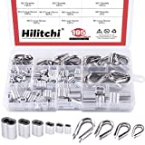 "Hilitchi 195-Pcs M2 / 3 / 4 / 5 304 Stainless Steel Thimble and 6-Size Aluminum Crimping Loop Sleeve Assortment Kit for 1/16"" - 3/16"" Diameter Wire Rope Cable Thimbles Rigging"