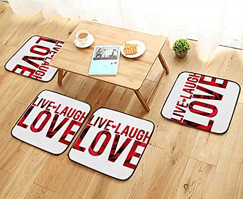 Cover Montage Futon - Leighhome Universal Chair Cushions Love Decor Typographic Montage Words with Macro Rose Petals Texture Print Red White Personalized Durable W15.5 x L15.5/4PCS Set