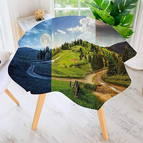 - Spillproof Polyester Fabric Round Tablecloth-Collage of Three Autumn e Cross Road Hillside Meadow in Mountain Range Elegant Printed Table Cloth 47.5