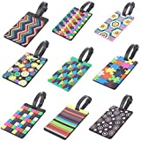 Rocutus 9pcs Colorful Luggage Tag ID Identify Label Holder Luggage Baggage Travel Identifier