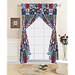 Elegant Home Patchwork Blue Green Red Sports Football Basketball Baseball Soccer Fun Design Colorful Boys / Kids Room Window Curtain Treatment Drapes 4 Piece Set # Rugby