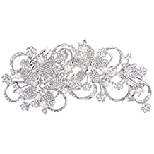 Ever Faith Silver-Tone Crystal Cream Simulated Pearl Bead Lace Flower Leaf Bridal Double Hair Comb Clear N06560-1