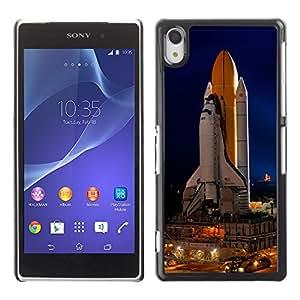 QCASE / Sony Xperia Z2 D6502 D6503 D6543 L50t L50u / nave espacial de lanzamiento de cohetes nasa tecnology vuelo / Delgado Negro Plástico caso cubierta Shell Armor Funda Case Cover