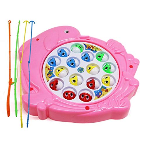 Eubell Fishing Game Toy Set, Toddlers Kids Single-Layer Rotating Board Music with Magnet Poles
