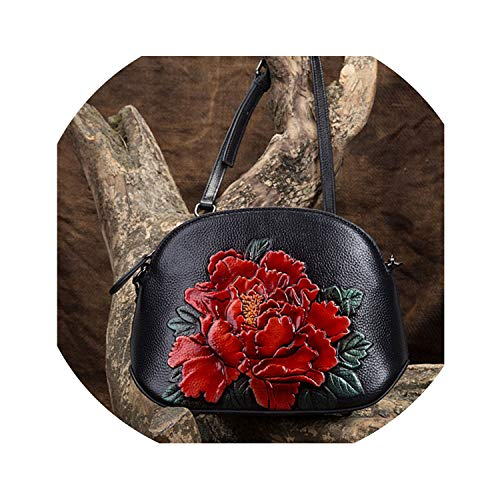 Genuine Leather Women Bags Crossbody Flowers Handbag Small Embossed Tote Purse Chinese Style Messenger Shoulder Bag,Red