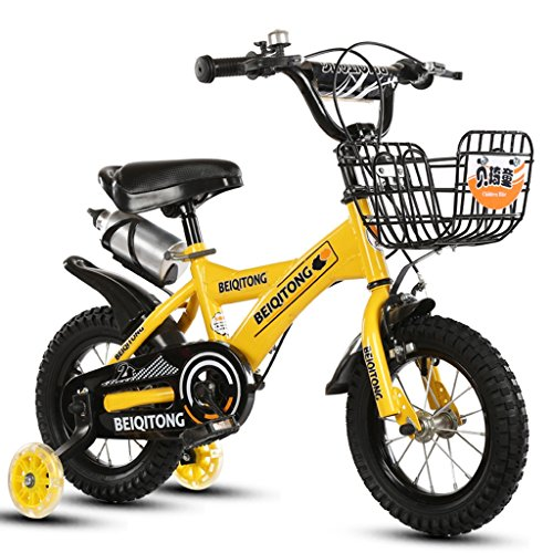 YON JIU Mode Vélo, Garçons Et Filles Vélo Vélo Enfance Personnelle Vélo 2-11 Ans Bébé Auxiliaire Roue Vélo 88-121 CM (Color : Le jaune, Size : 88CM)