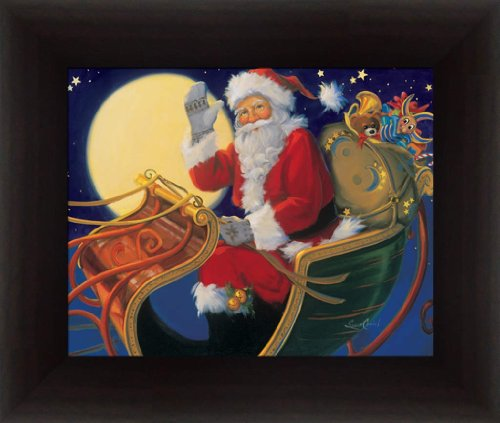 Santa Claus the Sleigh by Susan Comish Delivering Toys on Christmas Eve Framed Art Print Picture (Santa Christmas Art)