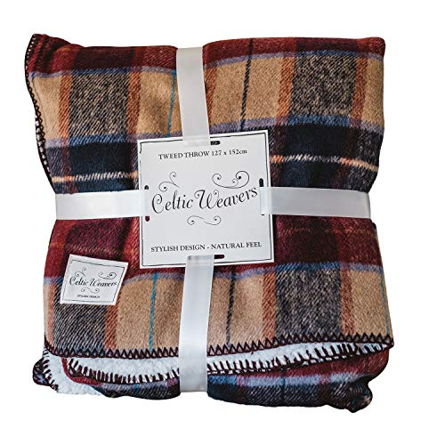(Samuel Lamont Celtic Weavers Irish Tweed Throw Blanket 127 x 152cm (Red))