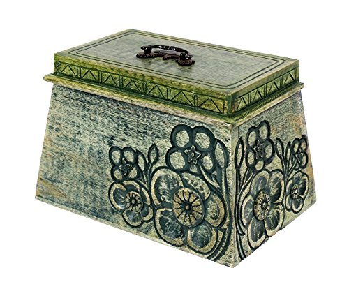 [Green Wooden Keepsake Box with Hand Carved Floral Design, 9 x 6 x 6 inches] (Deck Box Lid)