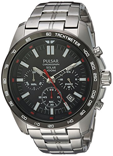 Pulsar Men's Quartz Stainless Steel Dress Watch, Color:Si...