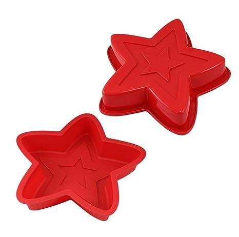 MTTLS Hornear de silicona molde de silicona de molde torta de en forma de estrella de