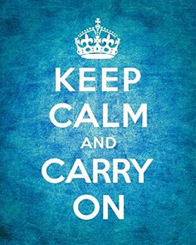 Keep Calm and Carry On - Vintage Blue Poster Print by The British Ministry