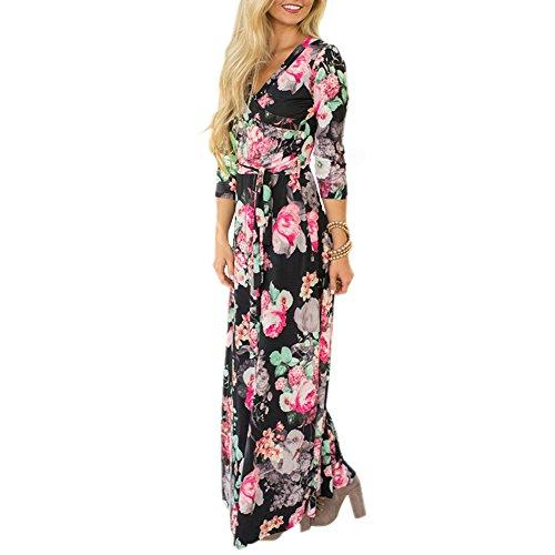 Wrap Mintsnow Dress Print V Bohemian Floral 1239 Women's Black Casual Neck Maxi CTrTcw5Wq