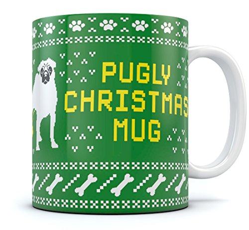Ugly Christmas Sweater Coffee Mug - Funny Xmas Gift Tea Cup Pugly Christmas Mug 15 Oz. White]()