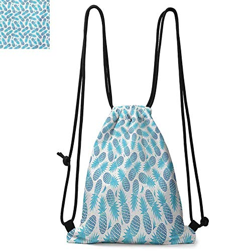 Cinch Vintage 80s - PineappleDurable Drawstring BackpackFoliage Silhouettes Exotic Fruits Eighties Vintage Design InspirationsFor the gym W13.8 x L17.7 Inch Blue and Pale Blue