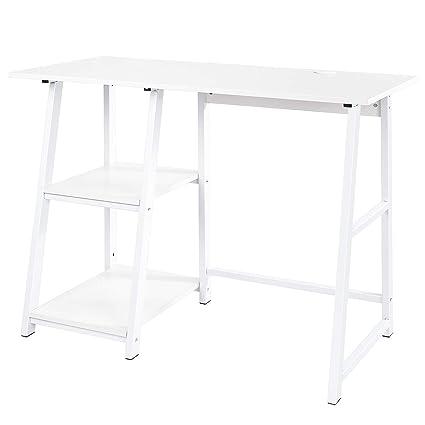 Homfa Mesa de Escritorio Mesa de Ordenador con 2 estantes Blanco 100X50X75cm