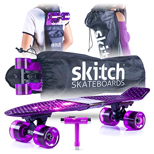Skitch Complete Skateboards Gift Set for Beginners Girls and Boys of All Ages with 22 Inch Mini Cruiser Board + Skateboard Backpack + Skate Tool + Tote Bag