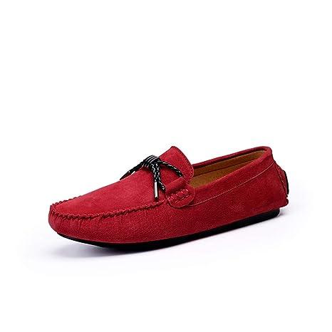Sunny&Baby Mocasines para Hombres Confortable Driving Loafer Cuero Genuino Suede Vamp Slip para Zapatos Deportivos Antideslizante