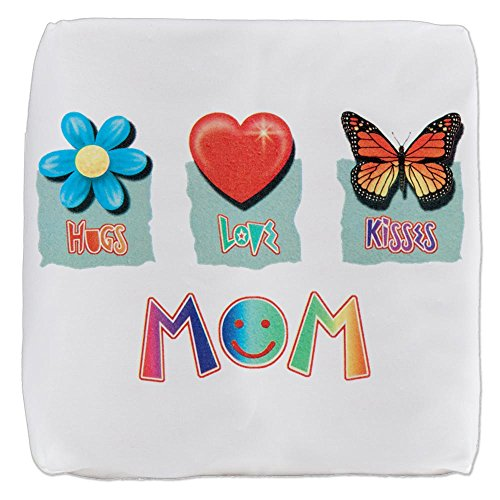 18 Inch 6-Sided Cube Ottoman Mom Hugs Flower Love Heart by Royal Lion