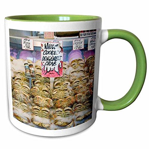 3dRose Danita Delimont - Markets - Washington, Seattle, Pike Place Market crab - US48 CSL0051 - Charles Sleicher - 11oz Two-Tone Green Mug (mug_95284_7)